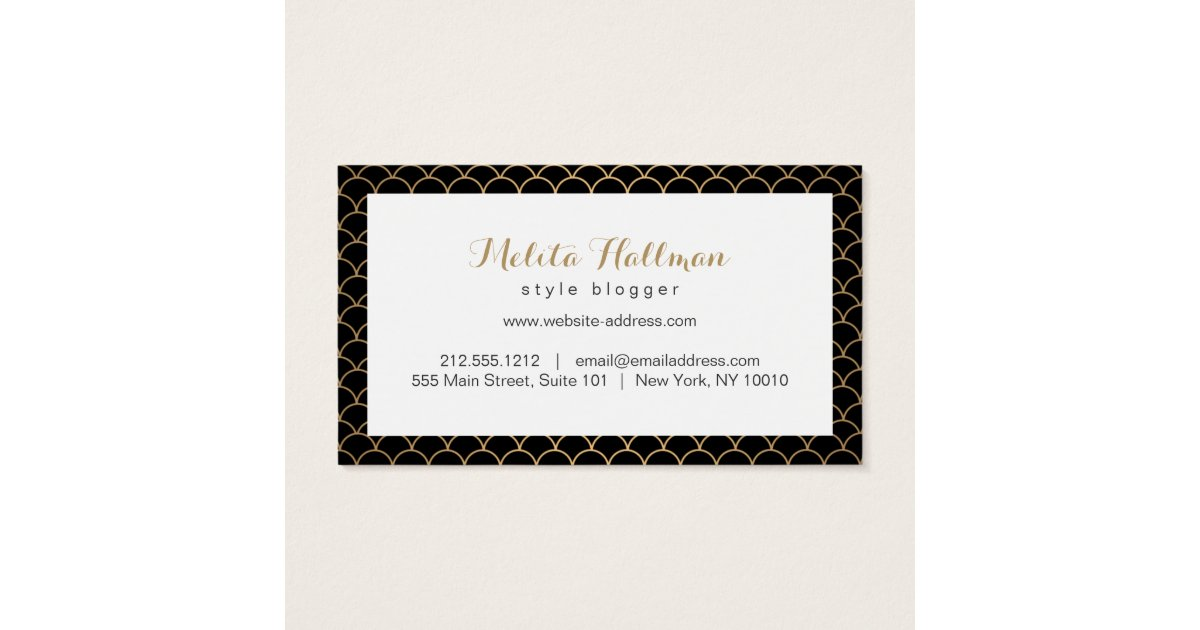 Calligraphy Name Art Deco Pattern Business Card Zazzle