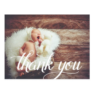 Calligraphy Overlay | Photo Christening Thank You Postcard