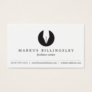 CALLIGRAPHY PEN NIB LOGO 3 for Authors or Writers Business Card