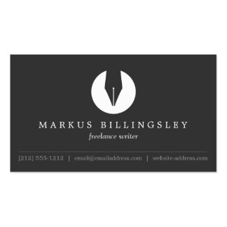 CALLIGRAPHY PEN NIB LOGO 4 for Authors or Writers Double-Sided Standard Business Cards (Pack Of 100)