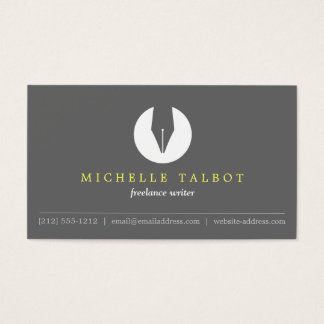 CALLIGRAPHY PEN NIB LOGO 5 for Authors or Writers Business Card