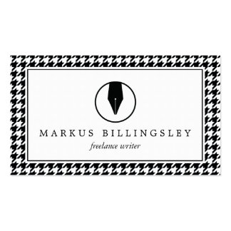 Calligraphy Pen Nib Logo with Houndstooth Pattern Business Card