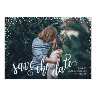 Calligraphy Photo Save the Date Card