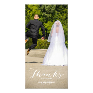 Calligraphy | Photo Wedding Thank You Photo Card