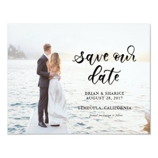 Calligraphy Save Our Date Card