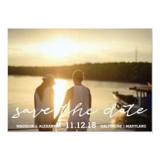 Calligraphy Save The Date Couple Photo Wedding Card