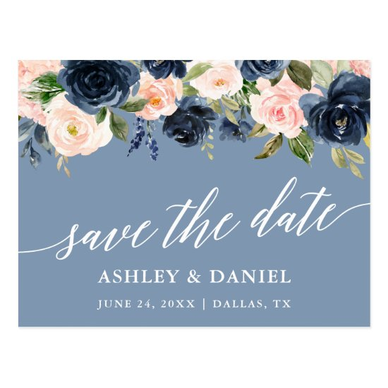 Calligraphy Save The Date Dusty Blue Pink Postcard