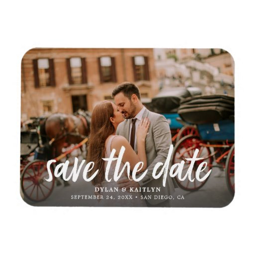 Calligraphy Save the Date Wedding Photo Magnet