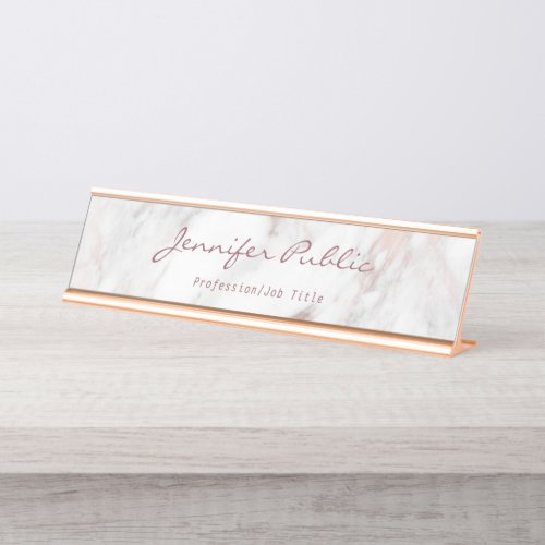 Calligraphy Script Elegant Rose Gold Marble Modern Desk Name Plate