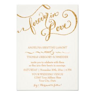 Calligraphy Script Forever in Love Gold Glitter Custom Invite