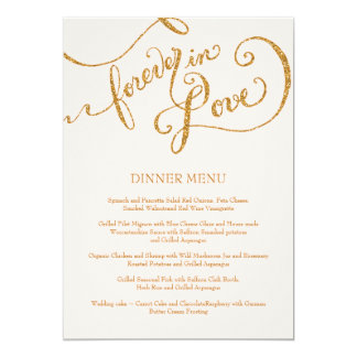 Calligraphy Script Forever in Love Gold Glitter Invitations