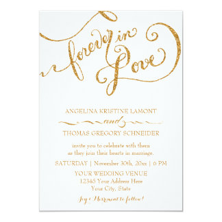 Calligraphy Script Forever in Love Gold Glitter Personalized Invitations
