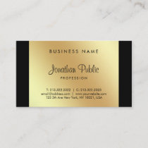 Calligraphy Script Glamour Black Gold Chic Luxury Business Card