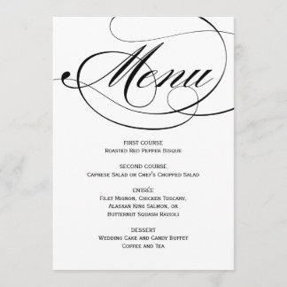 Calligraphy Script Menu Card | Black and White