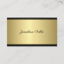 Calligraphy Script Modern Sleek Gold Glamour Plain Business Card