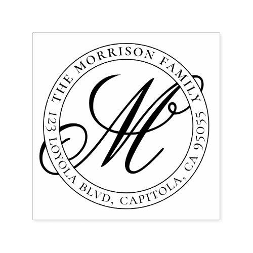 Calligraphy Script Monogram Family Name Address Self_inking Stamp