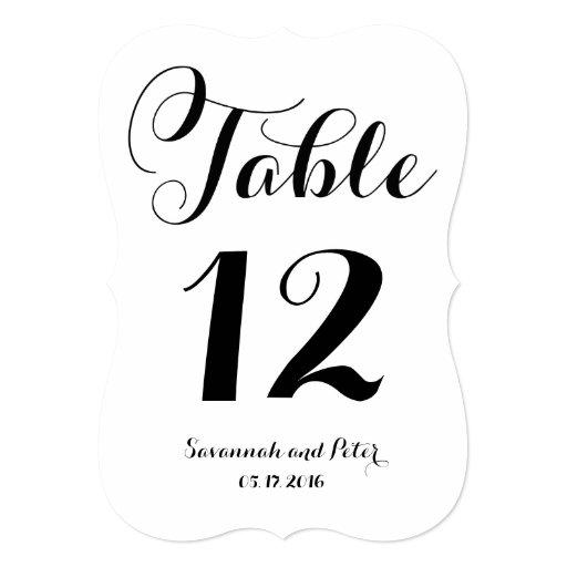 Calligraphy script monogram wedding table numbers