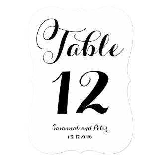Calligraphy Script Monogram Wedding Table Numbers Card