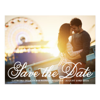 Calligraphy Script Photo Save the Date Postcard