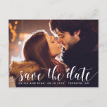 "Calligraphy Script | Photo Save the Date Postcard<br><div class=""desc"">Whimsical and elegant save the date postcard featuring white modern calligraphy. Similar items and other colors are available.</div>"