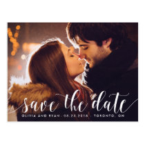 Calligraphy Script | Photo Save the Date Postcard