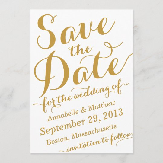 Calligraphy Script Save the Date Announcement
