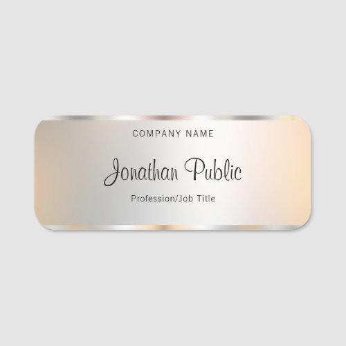 Calligraphy Script Text Silver Template Elegant Name Tag