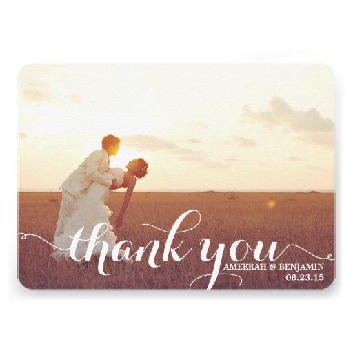 CALLIGRAPHY SCRIPT WEDDING THANK YOU CARD