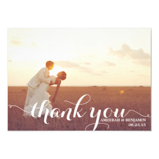 CALLIGRAPHY SCRIPT WEDDING THANK YOU CARD
