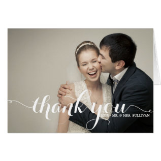 Calligraphy Script Wedding Thank You Card at Zazzle