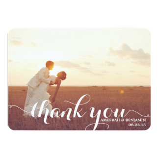 CALLIGRAPHY SCRIPT WEDDING THANK YOU CARD PERSONALIZED INVITATION