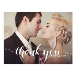 Calligraphy Script Wedding Thank You Photo Postcard