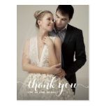 Calligraphy Script Wedding Thank You Postcard<br><div class='desc'>Customizable wedding thank you postcard featuring white calligraphy script. Other colors and template are available.</div>