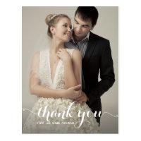 Calligraphy Script Wedding Thank You Postcard
