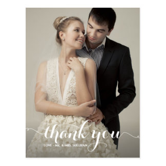 Calligraphy Script Wedding Thank You Postcard