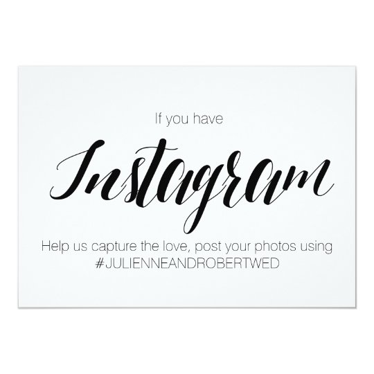 Calligraphy style quot instagram hashtag wedding sign card