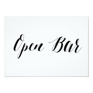 "Calligraphy Style ""Open Bar"" Wedding Sign Card"