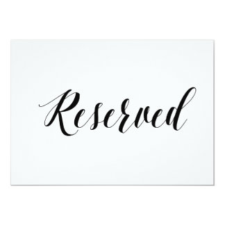 "Calligraphy Style ""Reserved"" Wedding Sign Card"