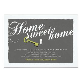 Calligraphy Text Key Lock Grey Housewarming Invite
