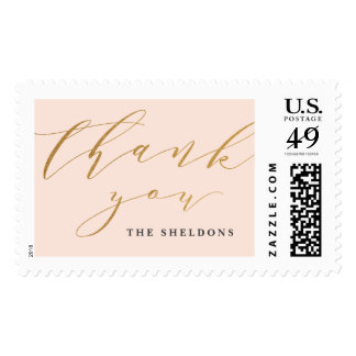 Calligraphy thank you faux foil postage stamp