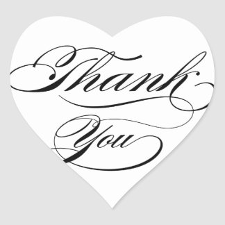Calligraphy thank you heart sticker