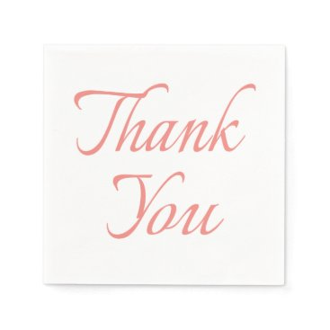 Professional Business Calligraphy Thank You Pink And White Napkins