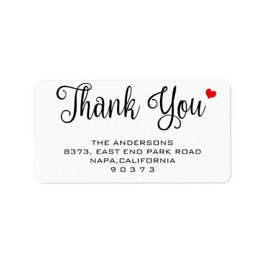Calligraphy Thank You Red Heart Return Address Label