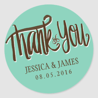 Calligraphy Thank You Wedding Favor Sticker