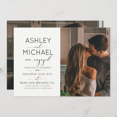 Calligraphy Typography 2 Photo Engagement Party Invitation
