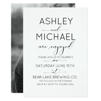 Calligraphy Typography Engagement Party Invitation