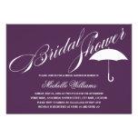 Calligraphy Umbrella Purple Bridal Shower Invite