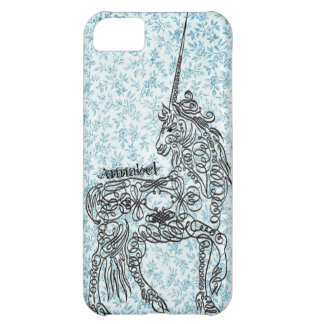 Calligraphy Unicorn Vintage Calico Personalized iPhone 5C Cover