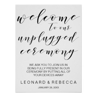 Calligraphy unplugged ceremony sign