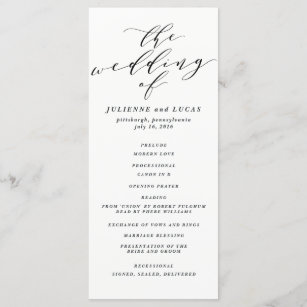 Wedding Ceremony Programs.Calligraphy Wedding Ceremony Progam Black Program